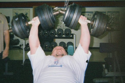 Check out this awesome dumbell incline Press by Dru Patrick. Over 200lbs being pressed by each arm and it is a remarkable feat of strength!!
