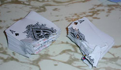 A deck of cards that Clay tore in half!! Ever wonder how you can tear playing cards in half? Check out the article by clay on how to tear cards in half!